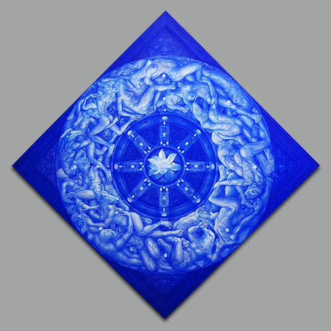 ธงชัย ศรีสุขประเสริฐ, องค์แห่งภวจักร, 2555, สีอะคริลิก ทองคำเปลว