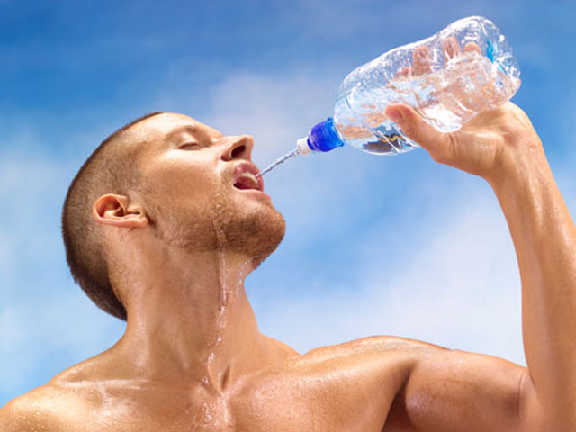 Athlete rehydrating
