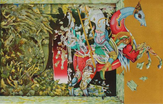 Panya Vijinthanasarn. Golden Ladder,2008.Lithograph.27of49.43x66cm.