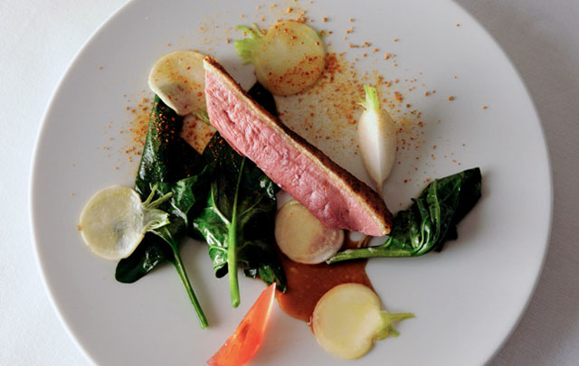 "Charcoal roasted native ""canette des Dombes ""duck fillet, glazed turnips, citrus powder,"