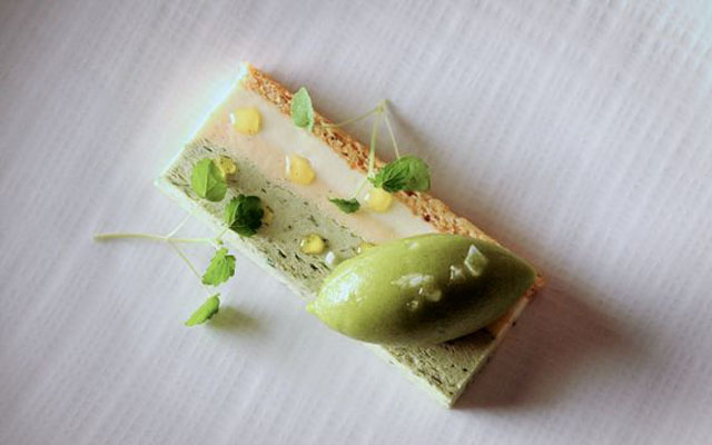 Vanilla Cassata green apple and basil sherbet