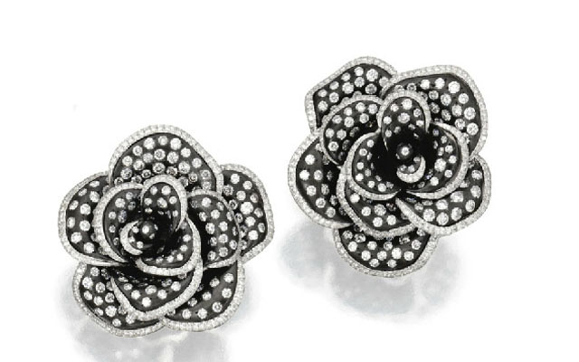gold anodized titanium diamond flower rose earclips black michele della valle