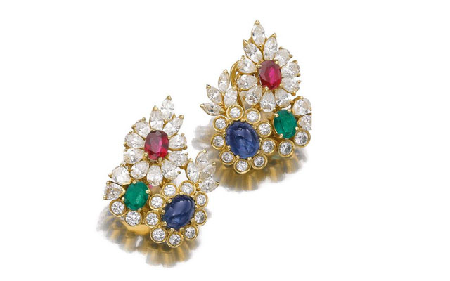 ruby emerald sapphire diamond ear clilps