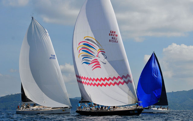 A close battle in the Premier class. Day 1 of the 2012 Phuket King's Cup Regatta. by Joyce Ravara