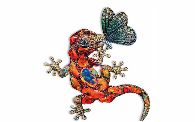 Fire opal Gecko Jewelry