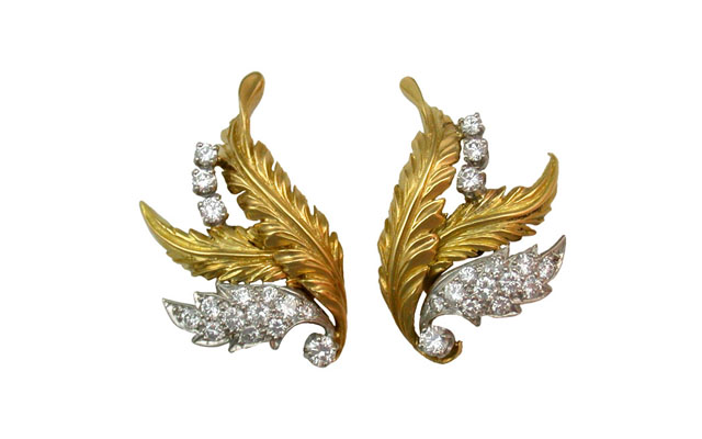 McTeigue-Gold-Diamond-Acanthus-Leaf-Earclips