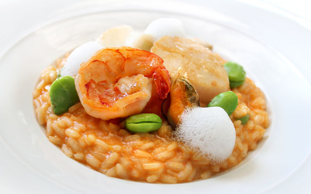 risotto with seafood, prosecco and fava beans