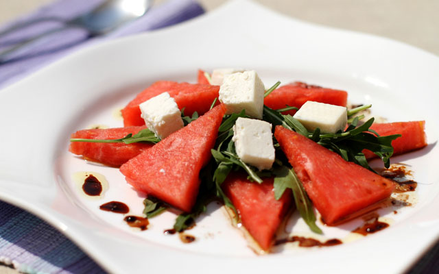 Water Melon, Rocket, Feta cheese Salad