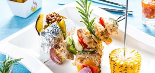 Grilled marinated crocodile kebabs