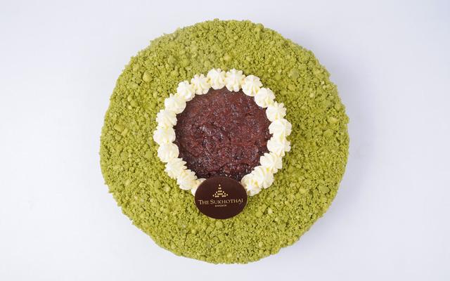 Green Tea Genoise with Sweet Red Bean Cream Cake