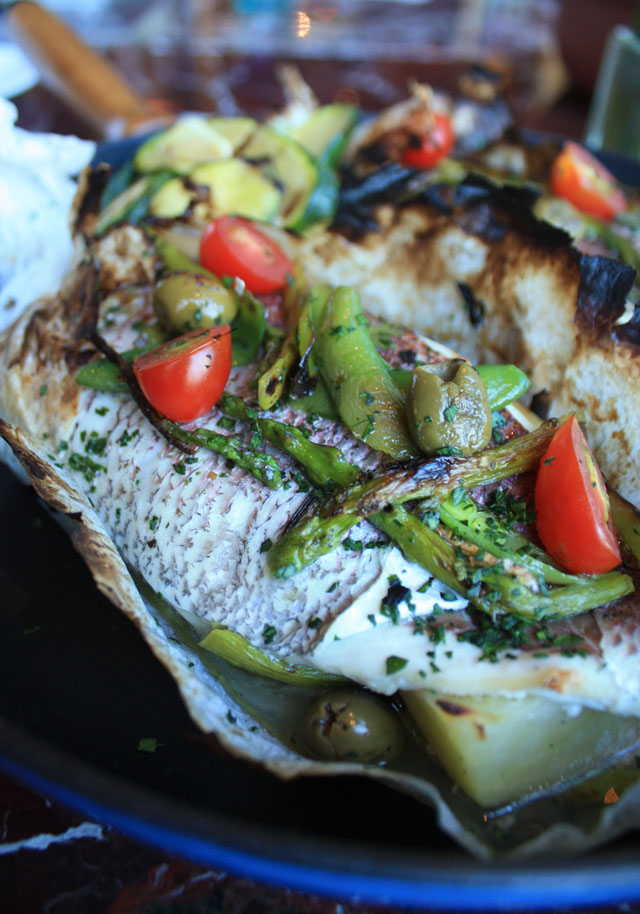 Mahi Mahi Cartoccio baking whole fish with olives, tomato, caper, white wine Resized