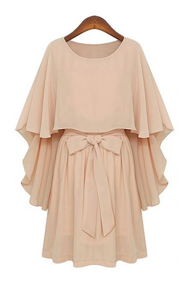 Sweet-Pleated-Chiffon-Dress-With-Overlay