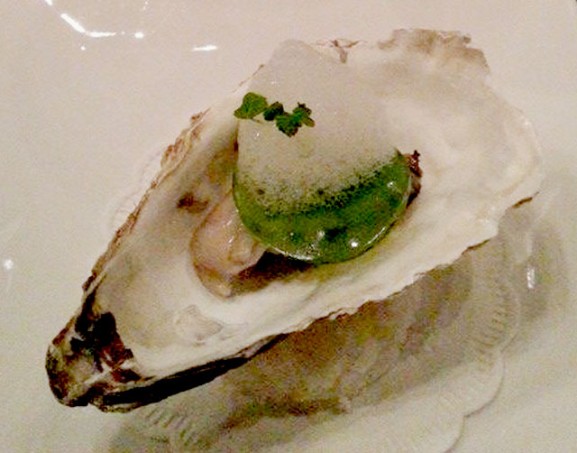 Amuse Bouche : Oyster >> Champagne poached / lime foam / limoncello-cucumber jelly/lemon balsam