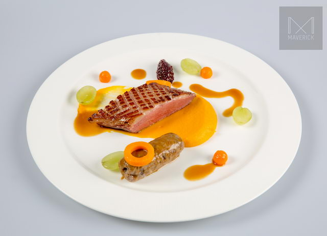 Duck:  Slow cookef breast / rillette of the leg / butternut / iodized grapes / ginger / Maderlira-poultry jus / red onion marmalade Pairing with: M2 De Matallana Telmo Rodriguez 2008, Ribera Del Duerao