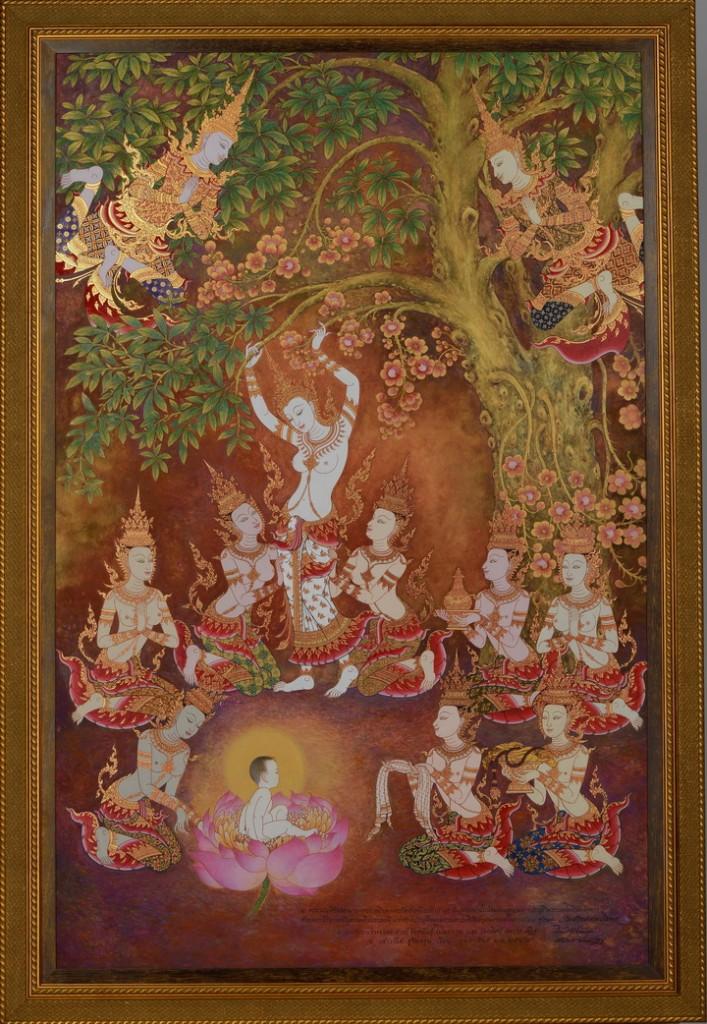 ภาพพระนางสิริมหามายาทรงประสูติพระพุทธเจ้า งานปี 2558 เทคนิค สีน้ำมันบนผ้าใบดาดบนไม้